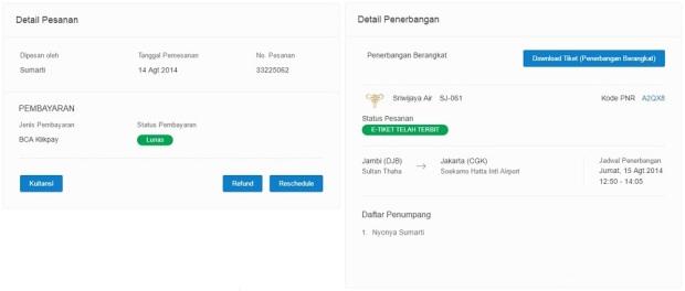 detail pesanan tiket Traveloka
