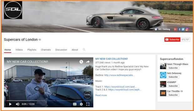 Supercars of London Youtube channel