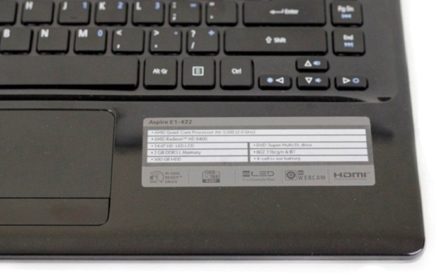 Spesifikasi laptop Acer Aspire E1-422