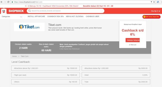 Tiket.com di Shopback