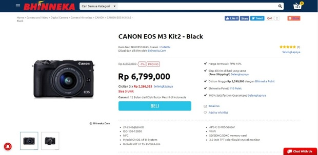 Canon EOS M3 di Bhinneka