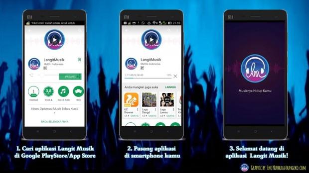 langkah-langkah download aplikasi Langit Musik