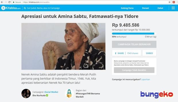 Campaign Nenek Amina Sabtu di Kitabisa.com