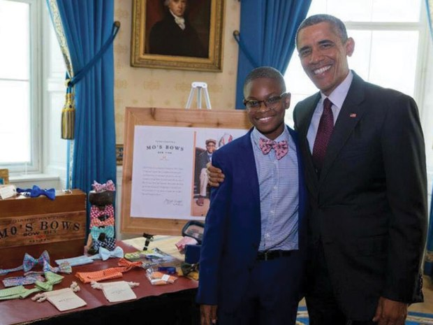 Moziah Bridges with Barrack Obama