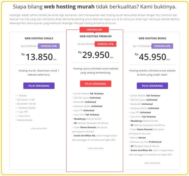 paket hosting Hostinger Indonesia