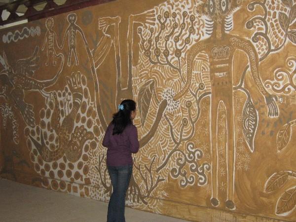 Seni lukis tradisional di dinding Jogja National Museum
