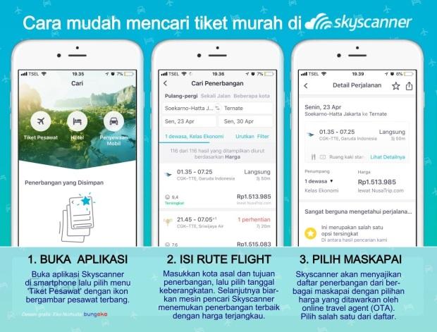 Cara cari tiket murah di aplikasi Skyscanner