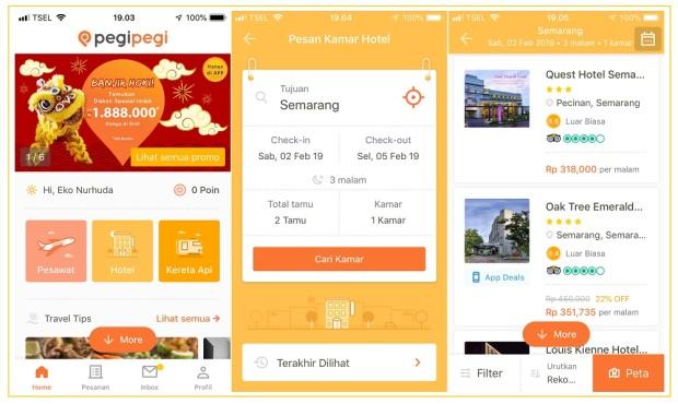 Tampilan aplikasi PegiPegi