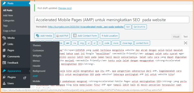 Cara setting AMP di WordPress.com