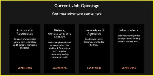 Lionbridge jobs opening