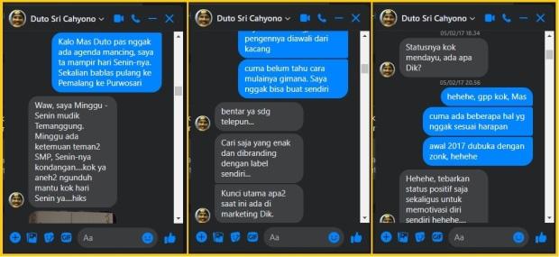 Chat dengan Mas Duto di FB Messenger
